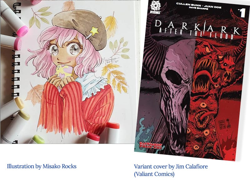 Middle grade manga art by Misako Rocks versus variant cover by Jim Calefiore, Valiant Comics