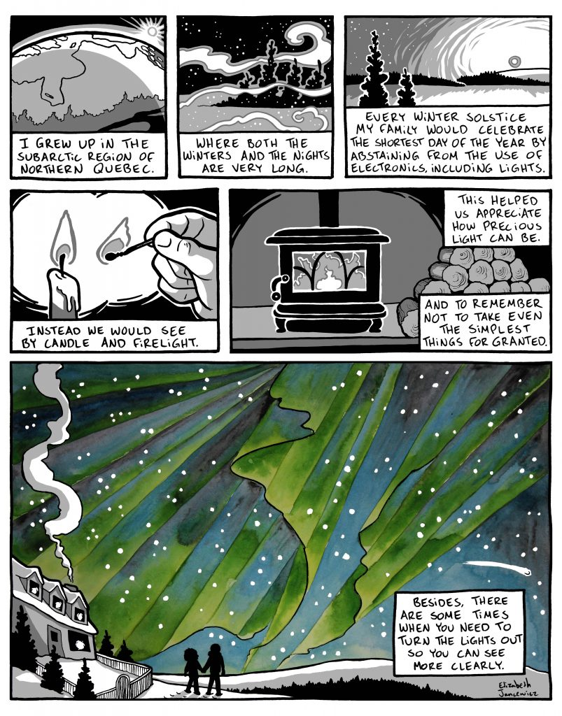 Northern lights comic by Elizabeth Jancewicz