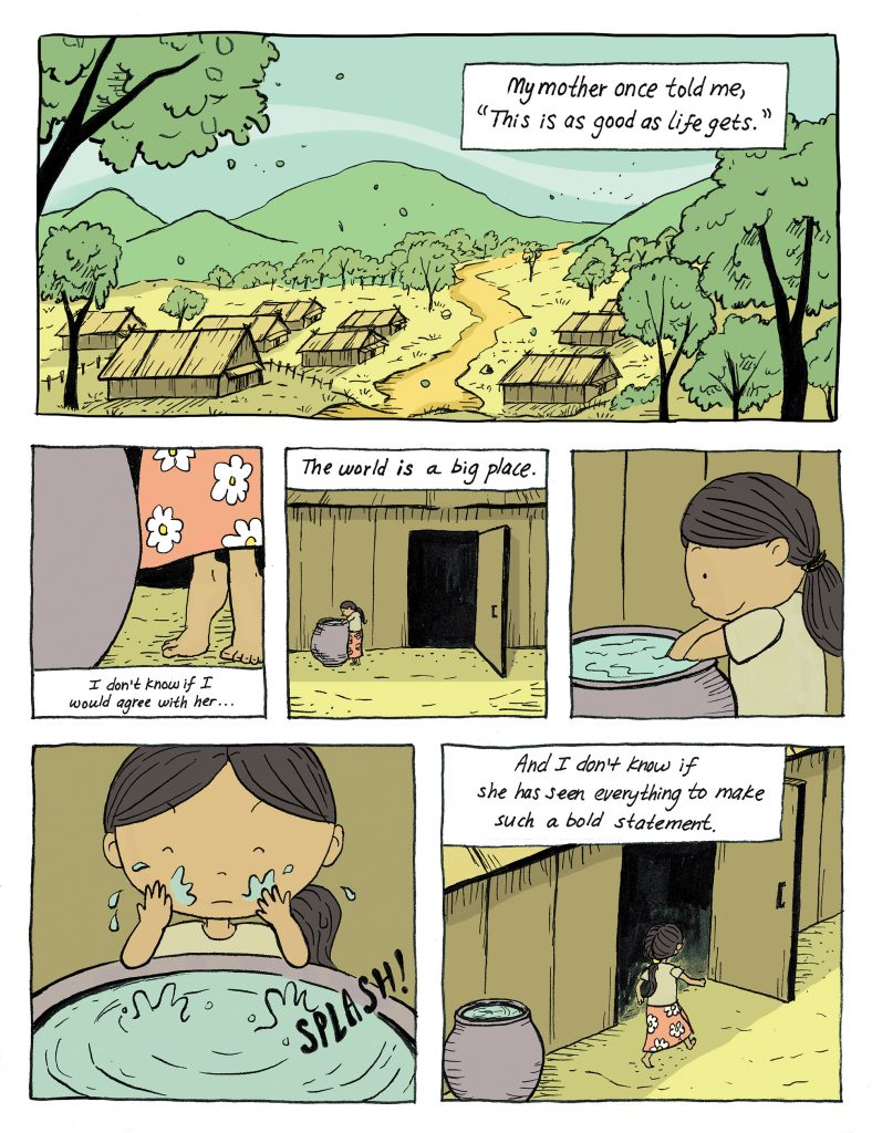 Then and Now graphic novel page by Hmong-American graphic novelist Duachaka Her