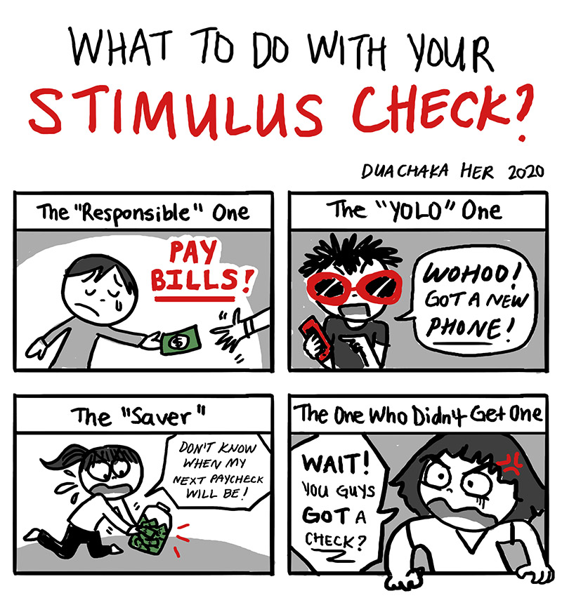 Stimulus check comic by Duachaka Her