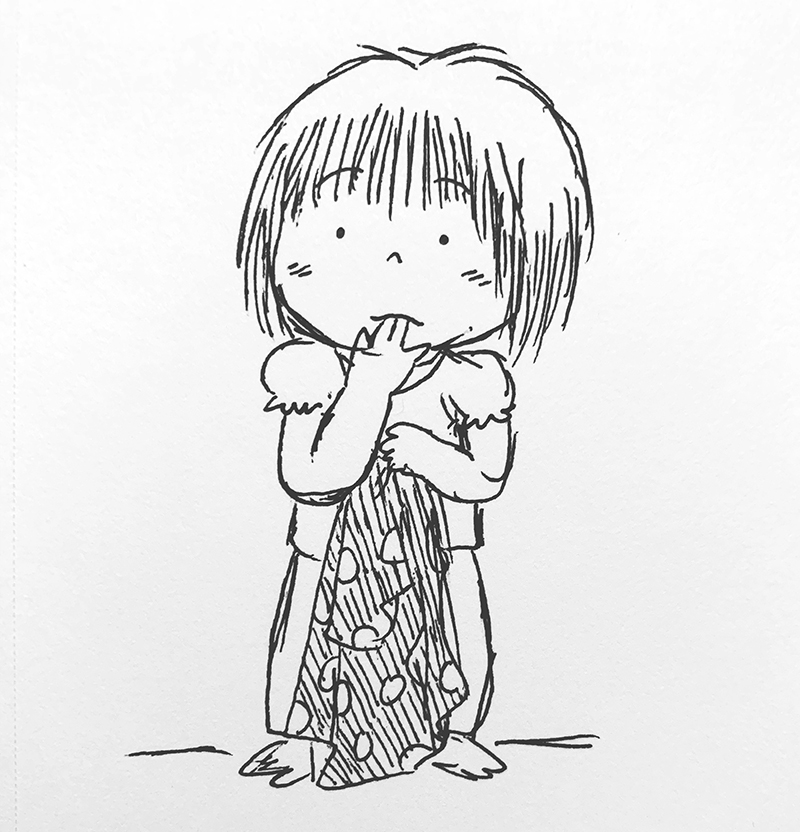 Small child sucking thumb by Hmong-American children's book illustrator Duachaka Her
