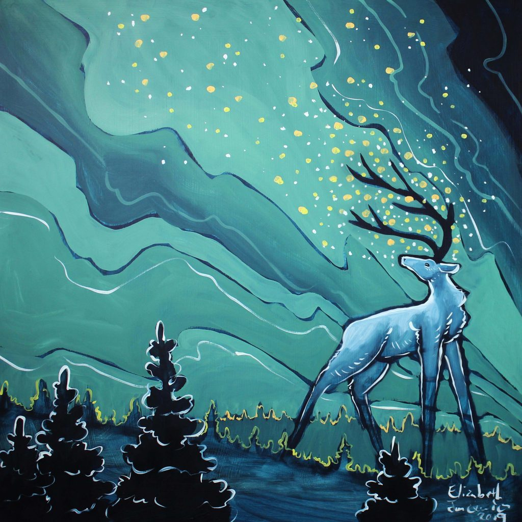 Northern lights with deer oil painting by Elizabeth Jancewicz