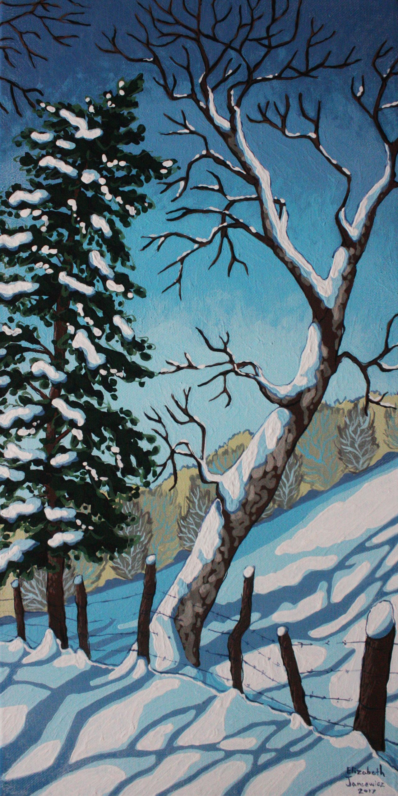 Winter oil painting by Elizabeth Jancewicz
