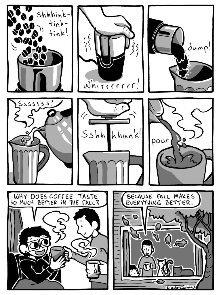 Coffee making comic by Elizabeth Jancewicz
