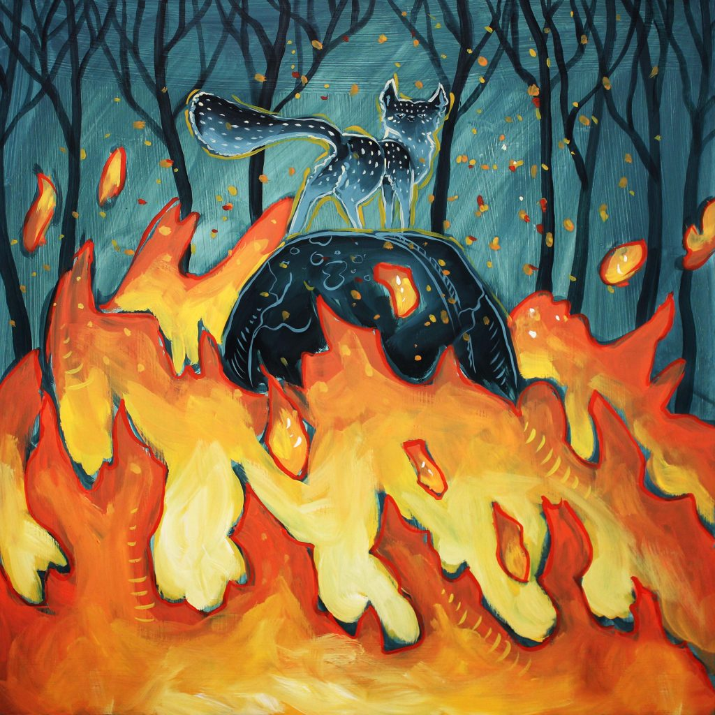 Fox atop a boulder surrounded by raging fire; oil painting by artist Elizabeth Jancewicz