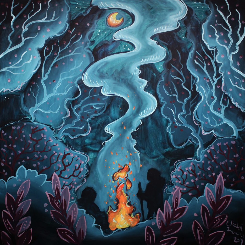 Outdoor camping fire under the moon; oil painting by illustrator Elizabeth Jancewicz