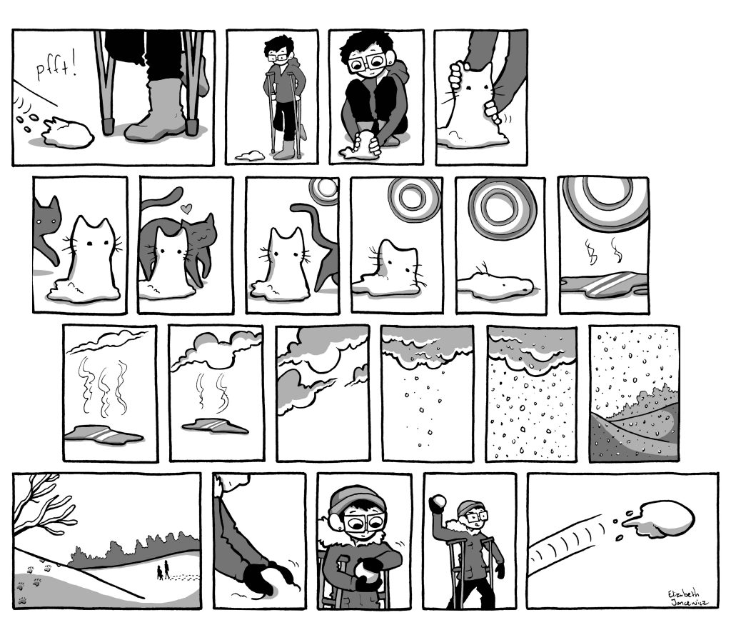 Snow cat comic by Elizabeth Jancewicz of The Touring Test