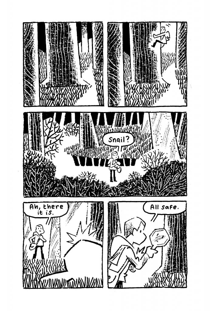 Black and white page from Kerry and the Knight Forest, middle grade fantasy graphic novel by Andi Watson