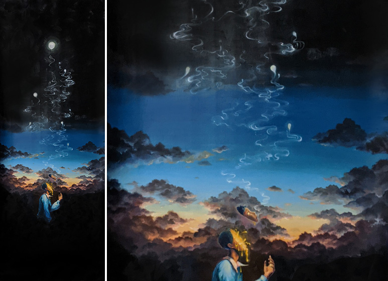 Moody fantasy anime inspired oil painting by Serena Phu